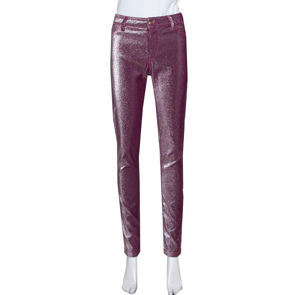 Just Cavalli Purple Lurex Knit Just Chic Jeggings L