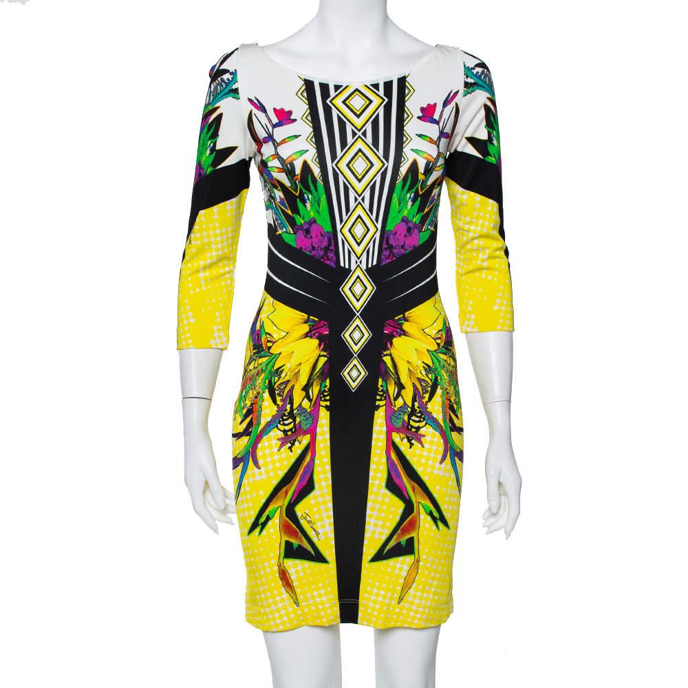 Just Cavalli Multicolor Printed  Knit Sheath Dress M