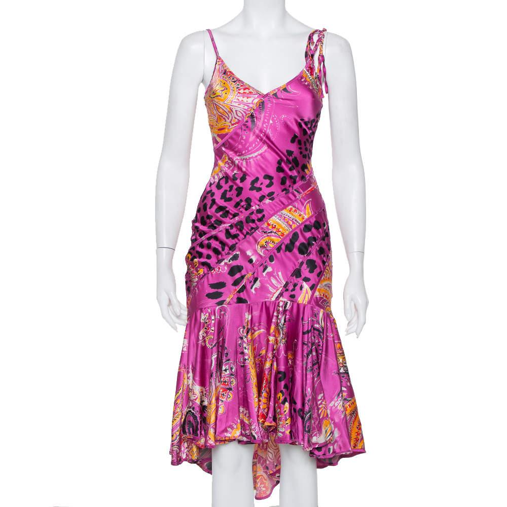 Just Cavalli Pink Printed Silk Ruffled Hem Sleeveless Midi Dress S