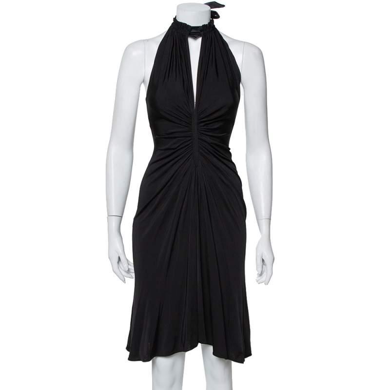 Just Cavalli Black Knit Halter Neck Flared Mini Dress S