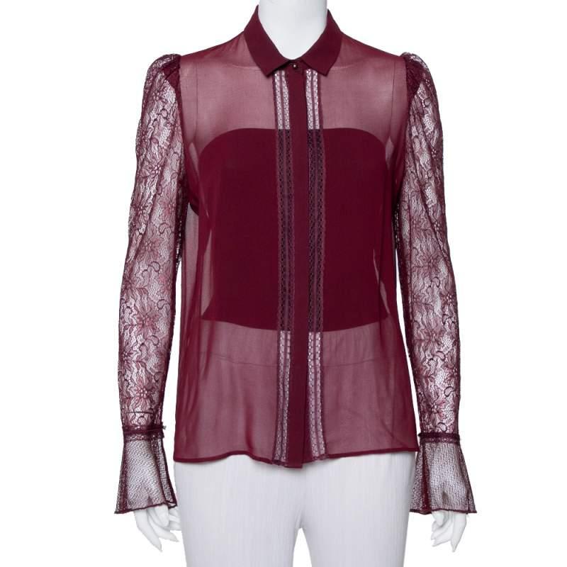 Just Cavalli Burgundy Silk Lace Detail Button Front Shirt M