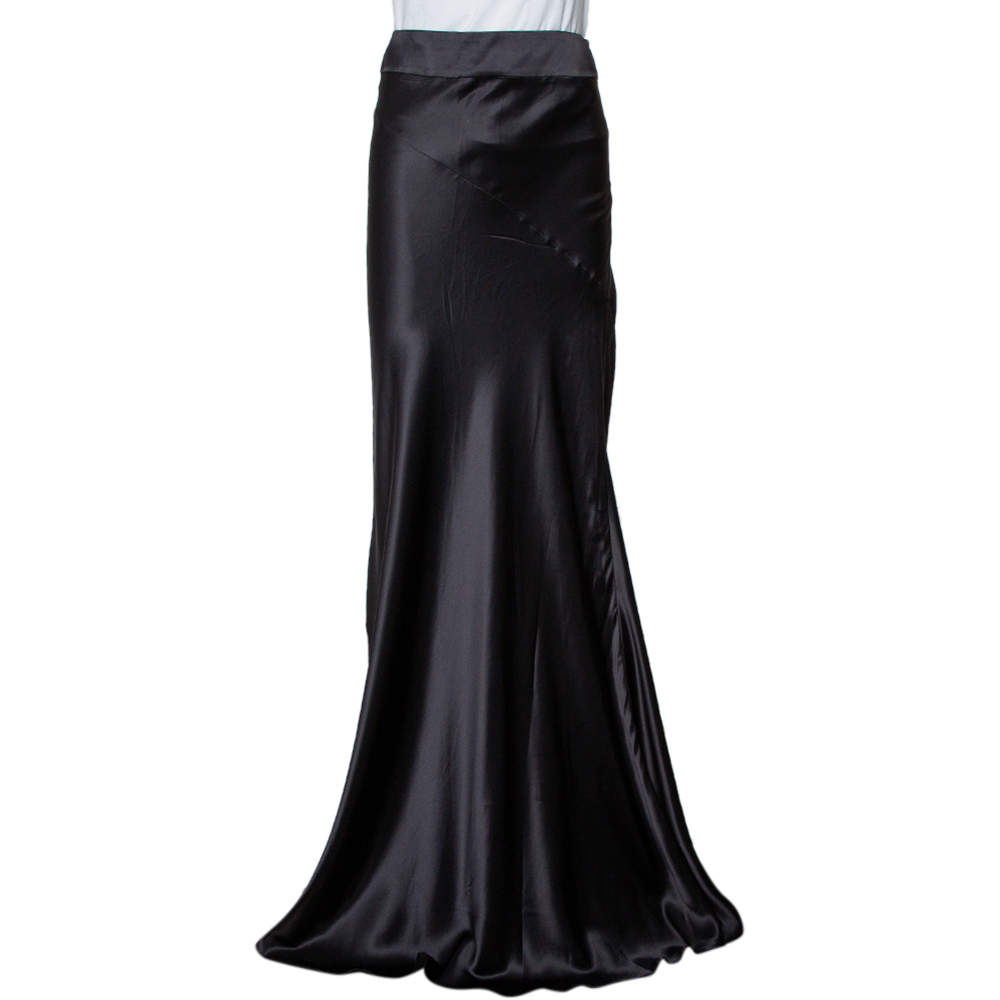 Just Cavalli Black Satin Paneled Maxi Skirt M