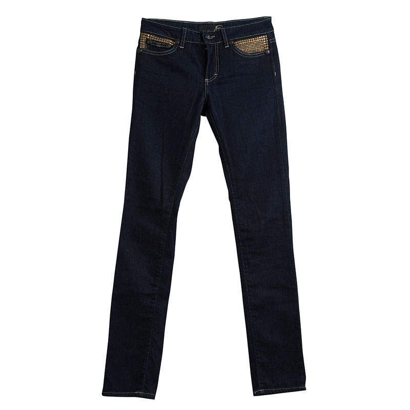 Just Cavalli Indigo Dark Wash Denim Studded Skinny Jeans S