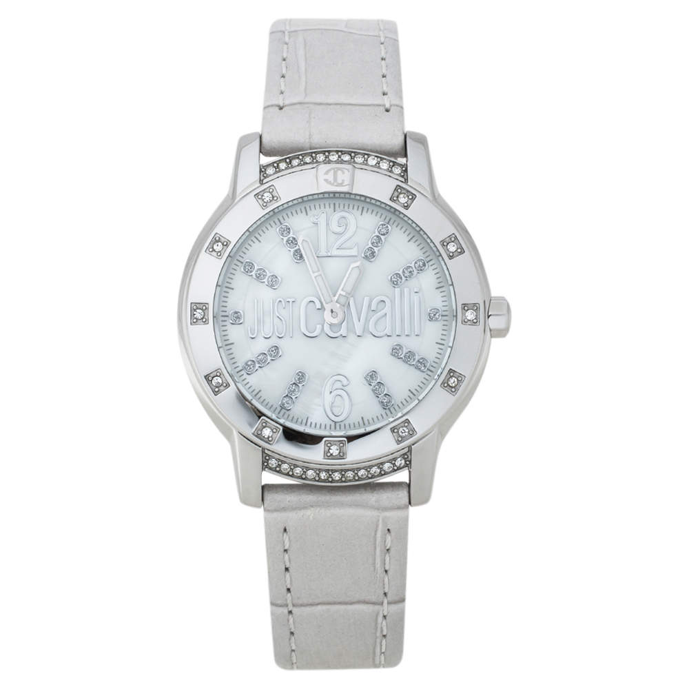 Roberto Cavalli Mother Of Pearl Stainless Steel Leather R7251161545 Women's Wristwatch 34 mm