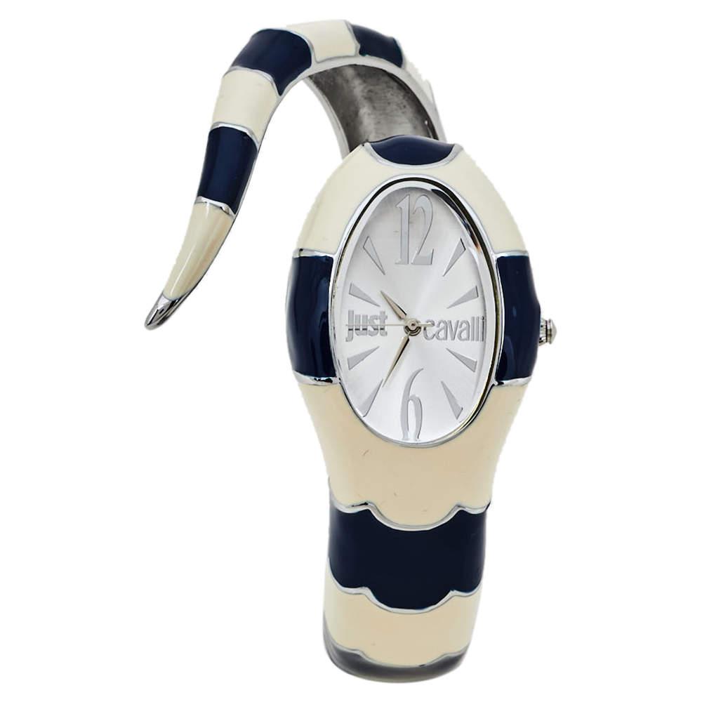 Just Cavalli Silver Enamel Stainless Steel Snake Bracelet Poison Women's Wristwatch 27 mm