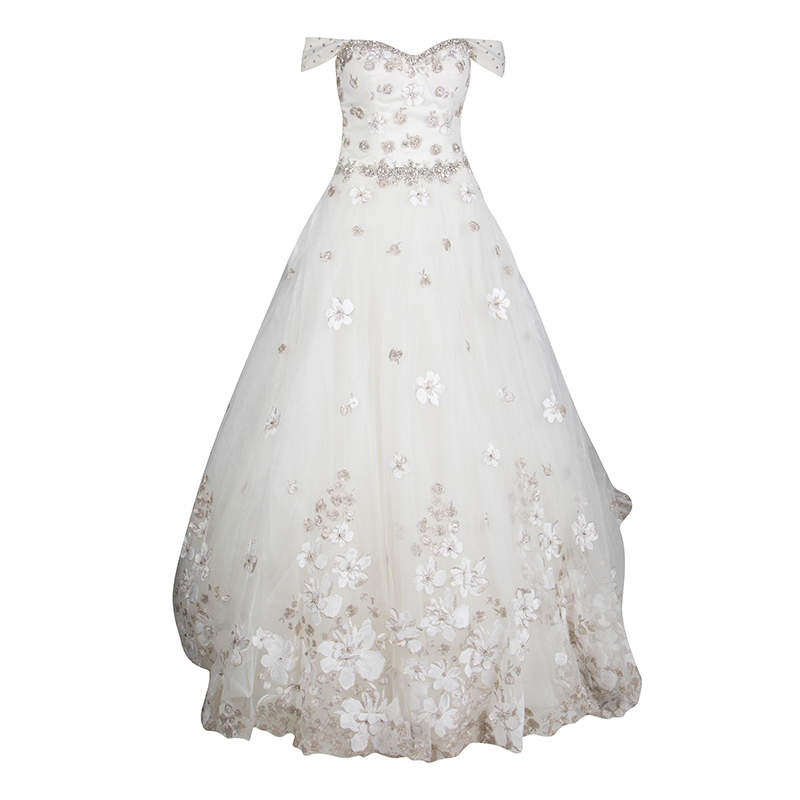 Justin Alexander Signature White Off Shoulder Floral Embroidered Embellished Tulle Wedding Gown M