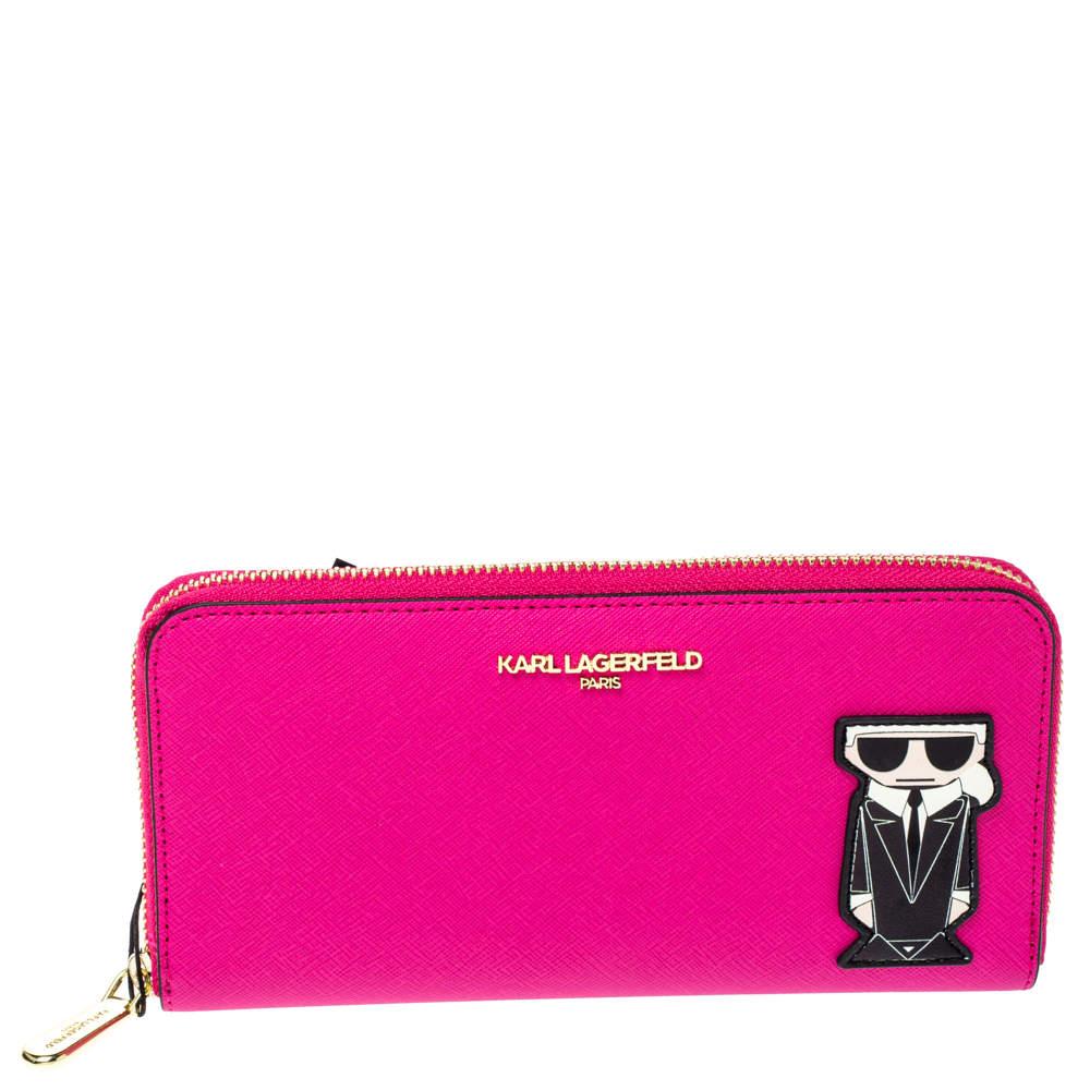 Karl Lagerfeld Pink Leather K/Ikonik Zip Around Wallet