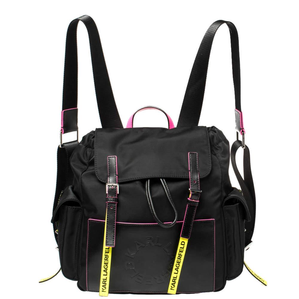Karl Lagerfeld Black Nylon K/neon Backpack