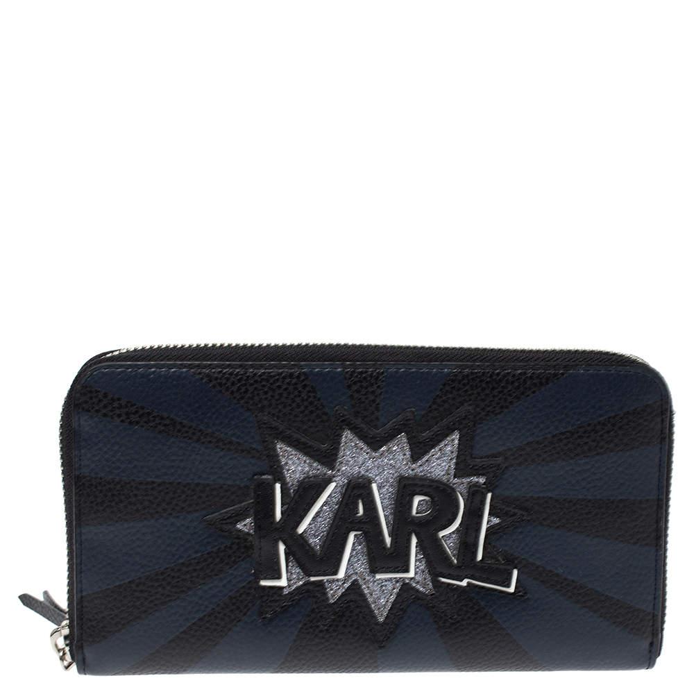 محفظة كارل لاغرفيلد سحاب ملتف جلد أسود و أزرق
