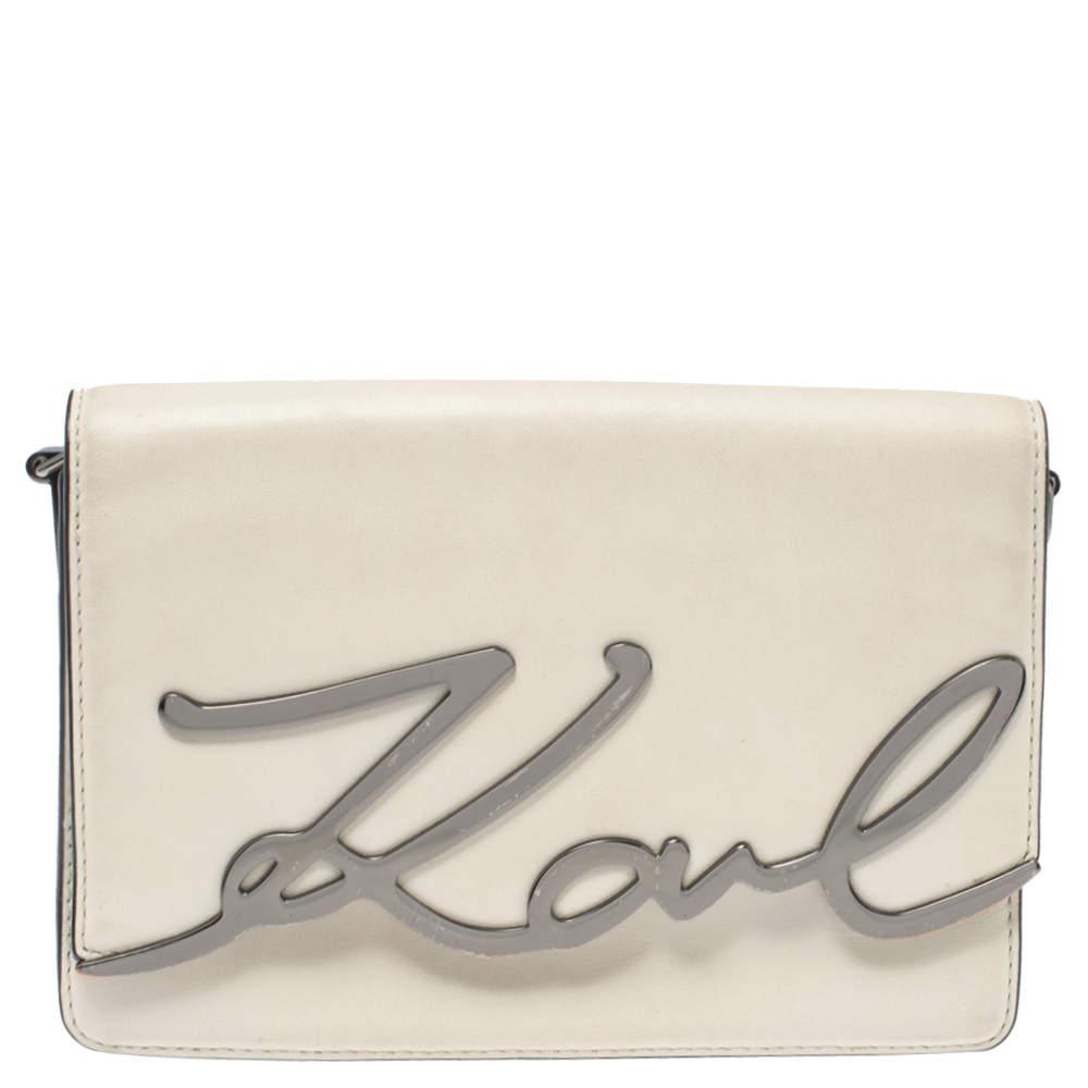 حقيبة كروس كارل لاغرفيلد شعار الماركة حرف كيه جلد بيج