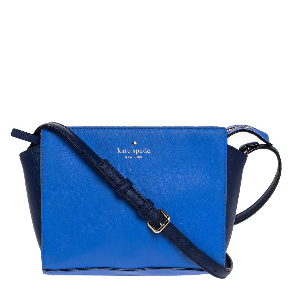 Kate Spade Blue Leather Cedar Street Crossbody Bag