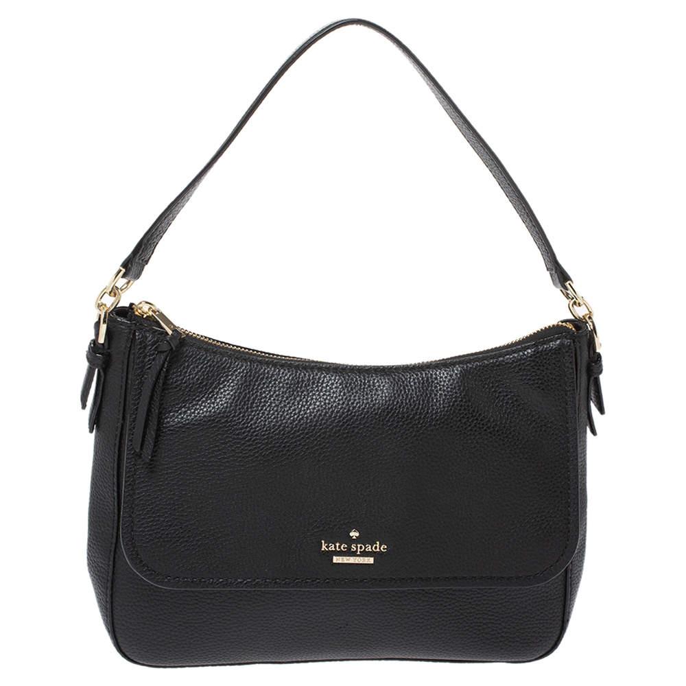 Kate Spade Black Leather Flap Shoulder Bag