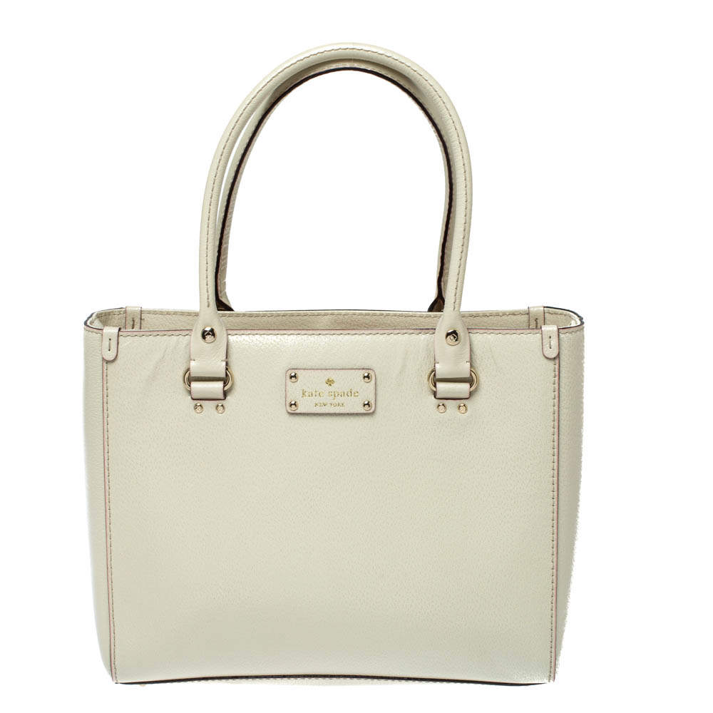 Kate Spade Ivory Leather Wellesley Quinn Tote