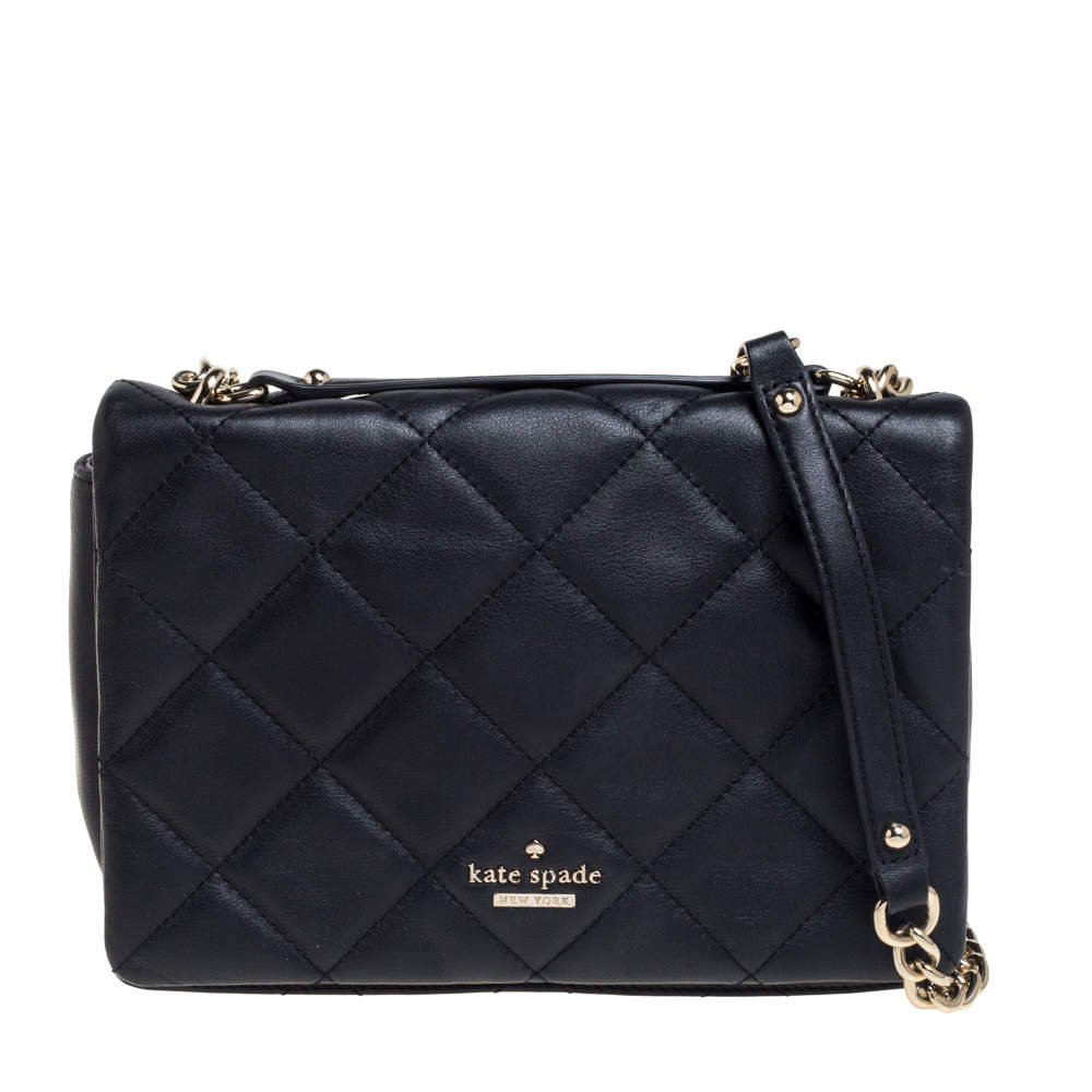 Kate Spade Black Quilted Leather Emerson Place Vivenna Shoulder Bag