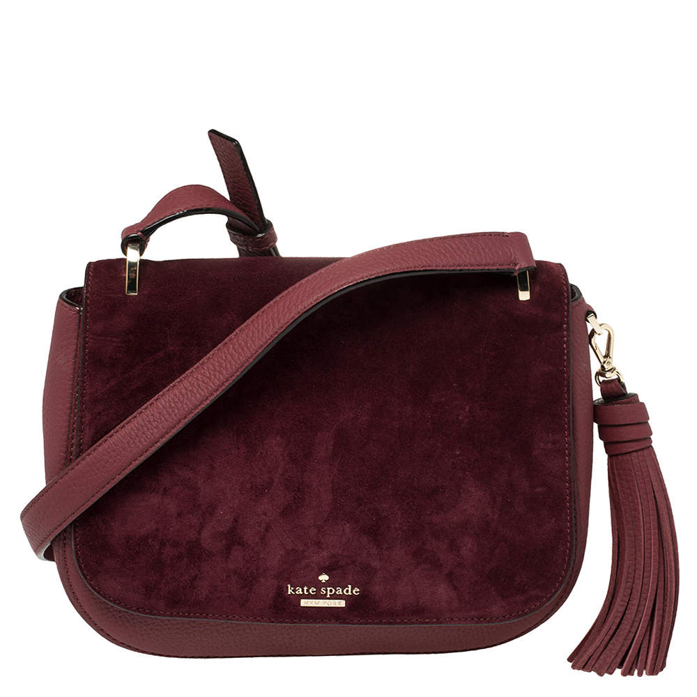 Kate Spade Burgundy Leather and Suede Daniels Drive Tressa Crossbody Bag