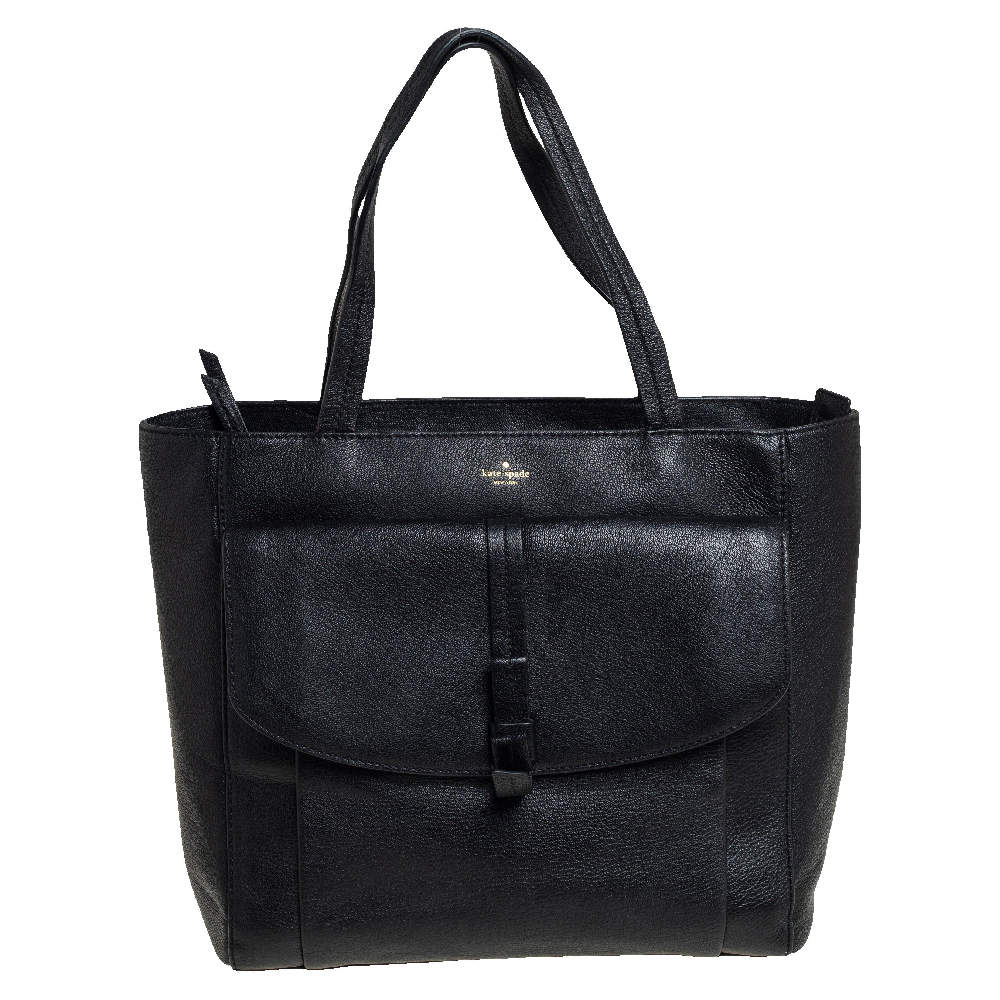 Kate Spade Black Leather Front Flap Pocket Bow Tote