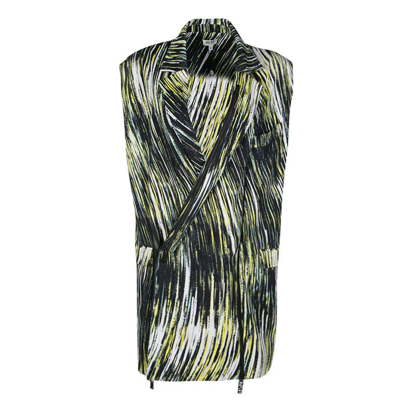 Kenzo Multicolor Printed Cotton Twill Zip Detail Long Sleeveless Jacket M