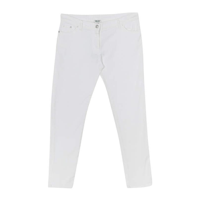 Kenzo White Stretch Denim Tapered Jeans M