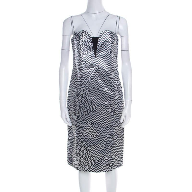 Kenzo Silver and Black Zig Zag Pattern Jacquard Strapless Dress M