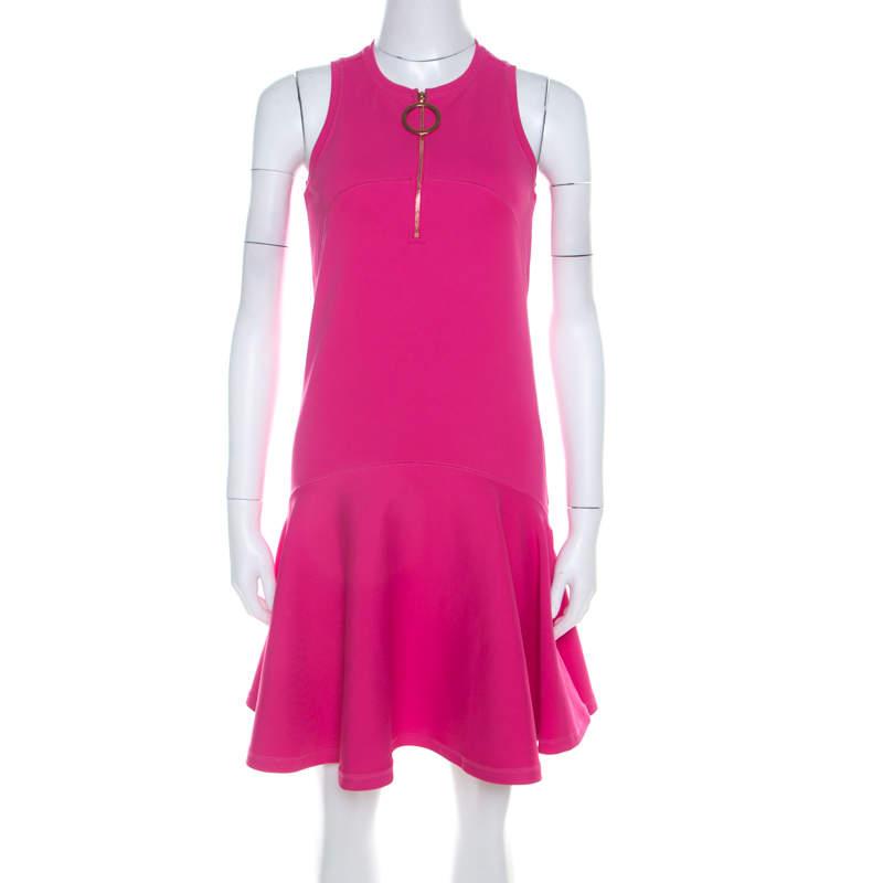 Kenzo Pink Neoprene Drop Waist Sleeveless Dress XS