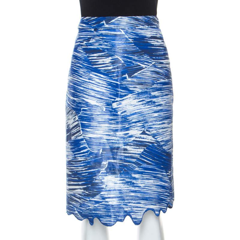 Kenzo Blue Broken Waves Printed Silk Embroidered Hem Pencil Skirt S