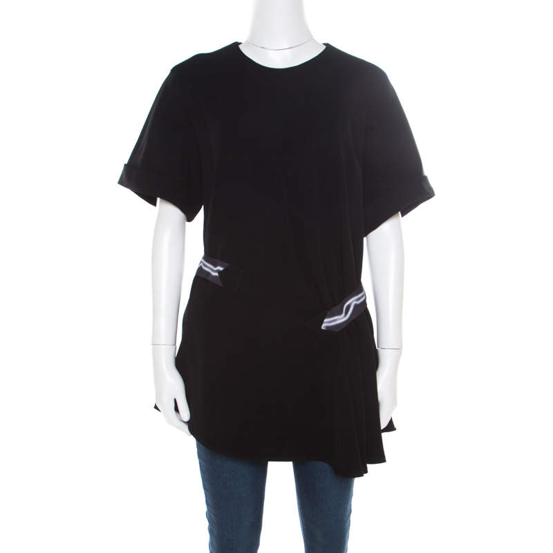 Kenzo Black Contrast Belted Asymmetric Top L