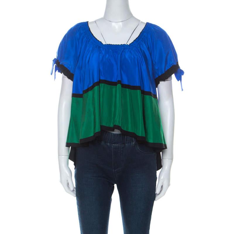 Kenzo Blue Black and Green Color Block Off Shoulder Top M