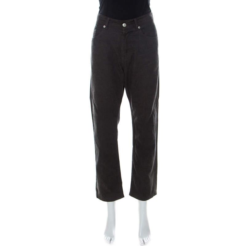 Kenzo Charcoal Grey Micro Checks Cotton Straight Leg Pants L