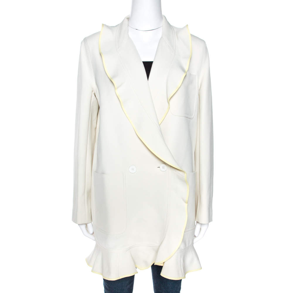 Kenzo Off White Wool Blend Ruffle Detail Jacket M