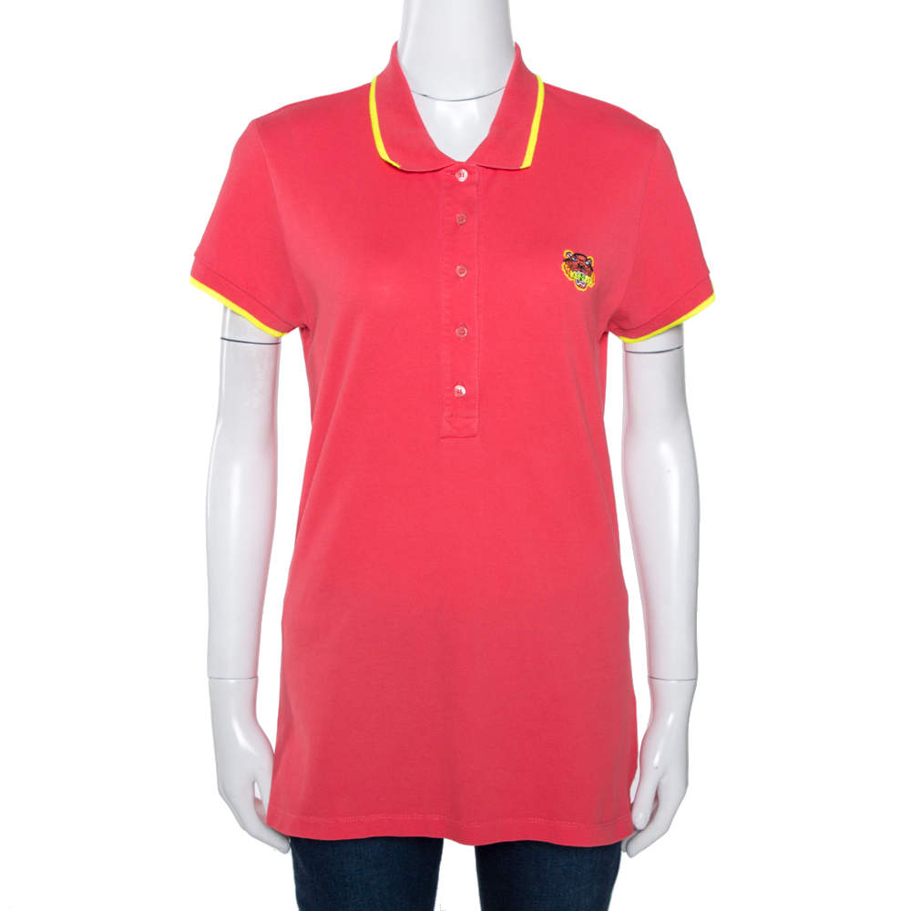 Kenzo Coral Pink Cotton Pique Tiger Embroidered Polo T-Shirt M