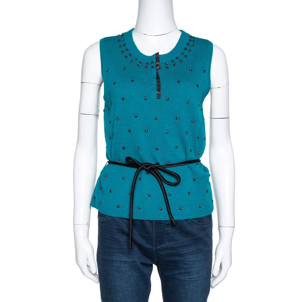 Kenzo Teal Wool Knit Embellished Sleeveless Belted Top L