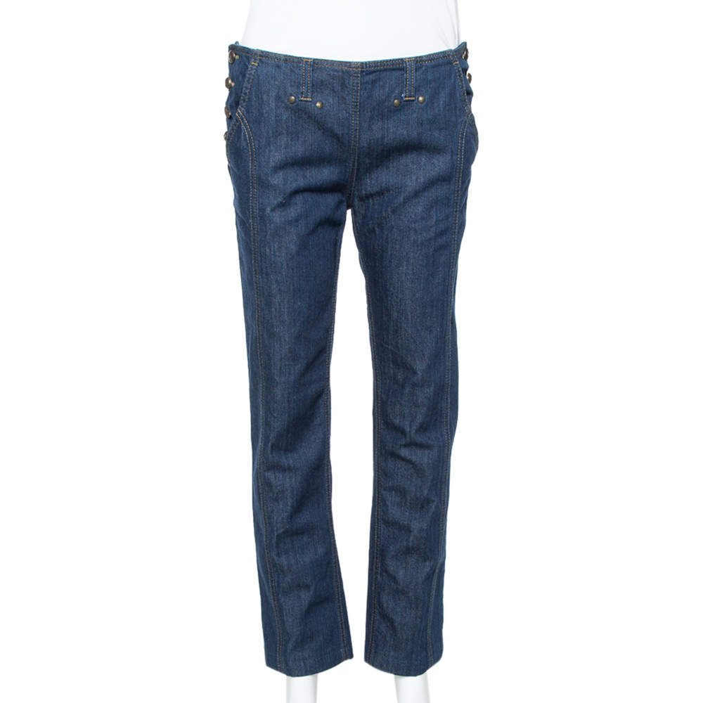 Kenzo Navy Blue Denim Side Button Closure Detail Tapered Jeans M