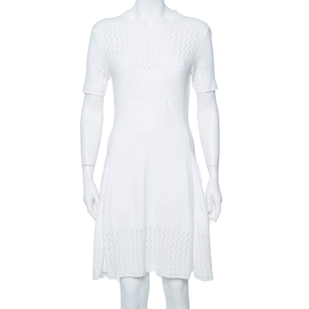 Kenzo White Perforated Knit Fit & Flare Dress L