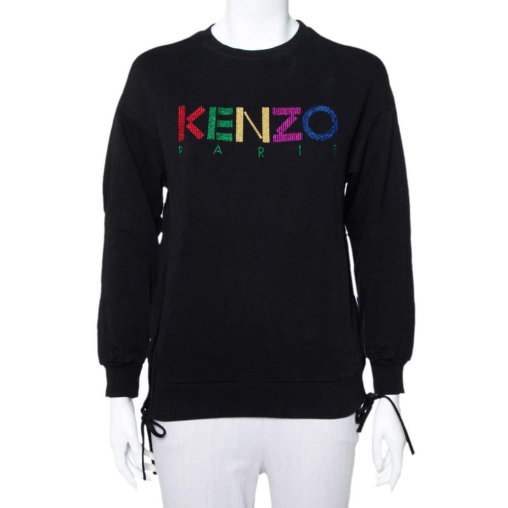 Kenzo Black Knit Logo Embroidered Side Zip Detail Sweatshirt S
