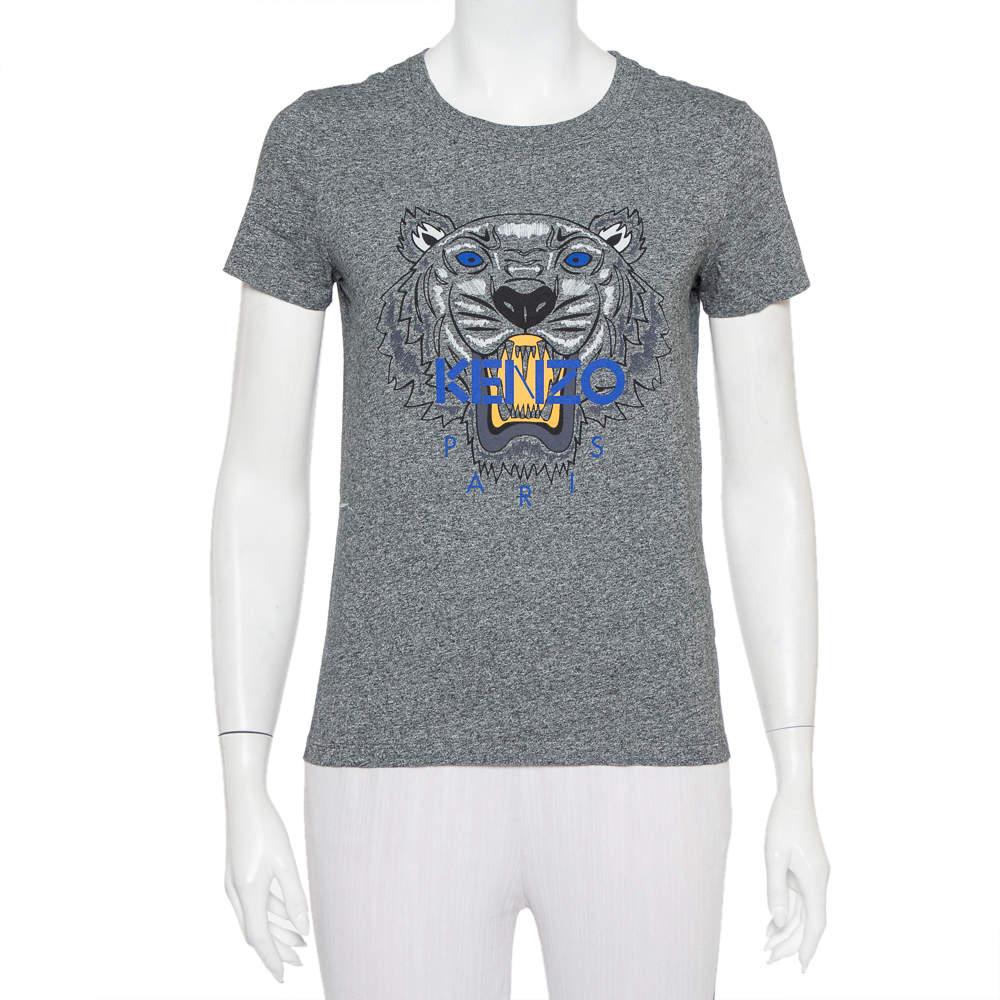 Kenzo Grey Cotton Tiger Printed Crewneck T-Shirt S