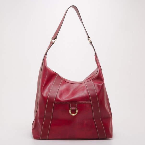 Lancel Red Leather Hobo