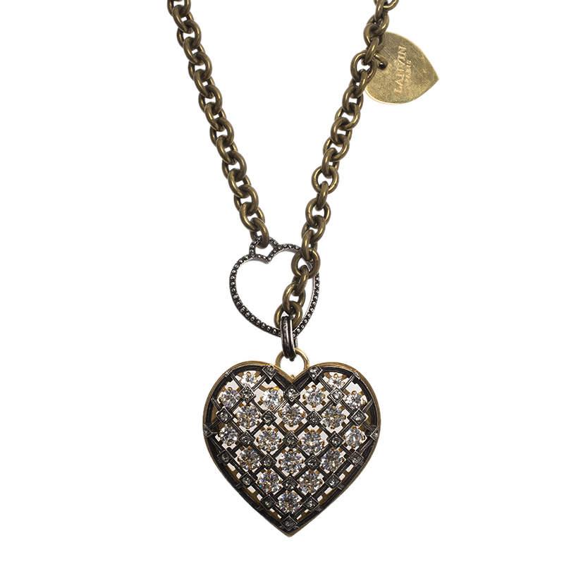 Lanvin Crystal Mira Heart Pendant Long Necklace