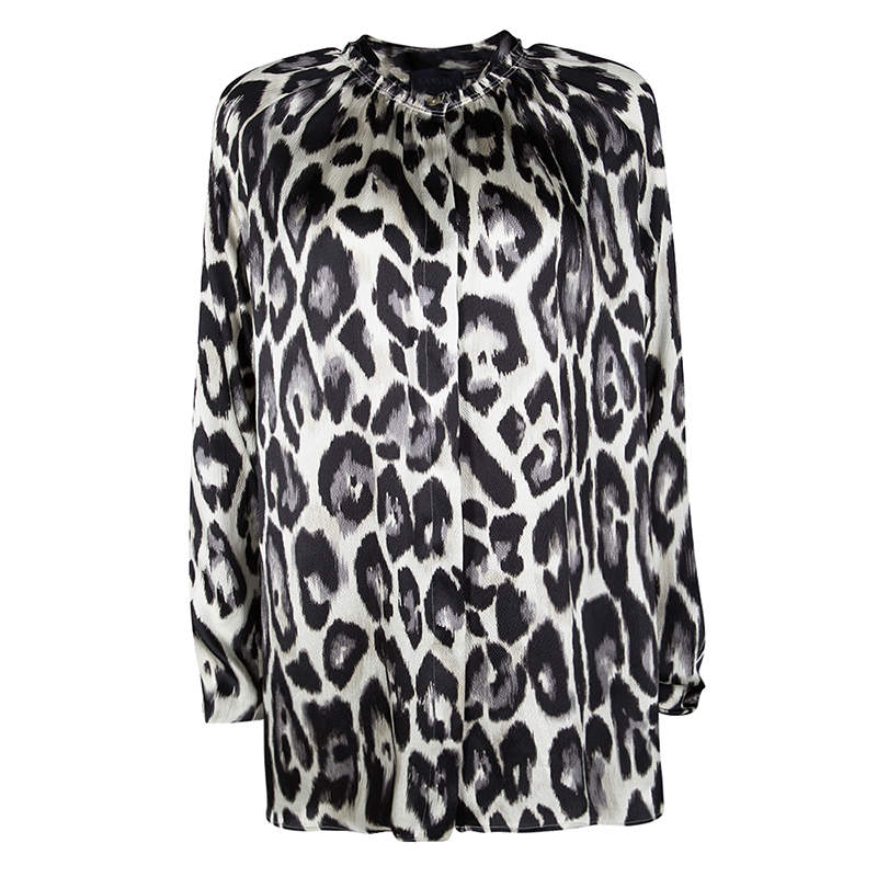 Lanvin Multicolor Leopard Print Long Sleeve Silk Blouse S