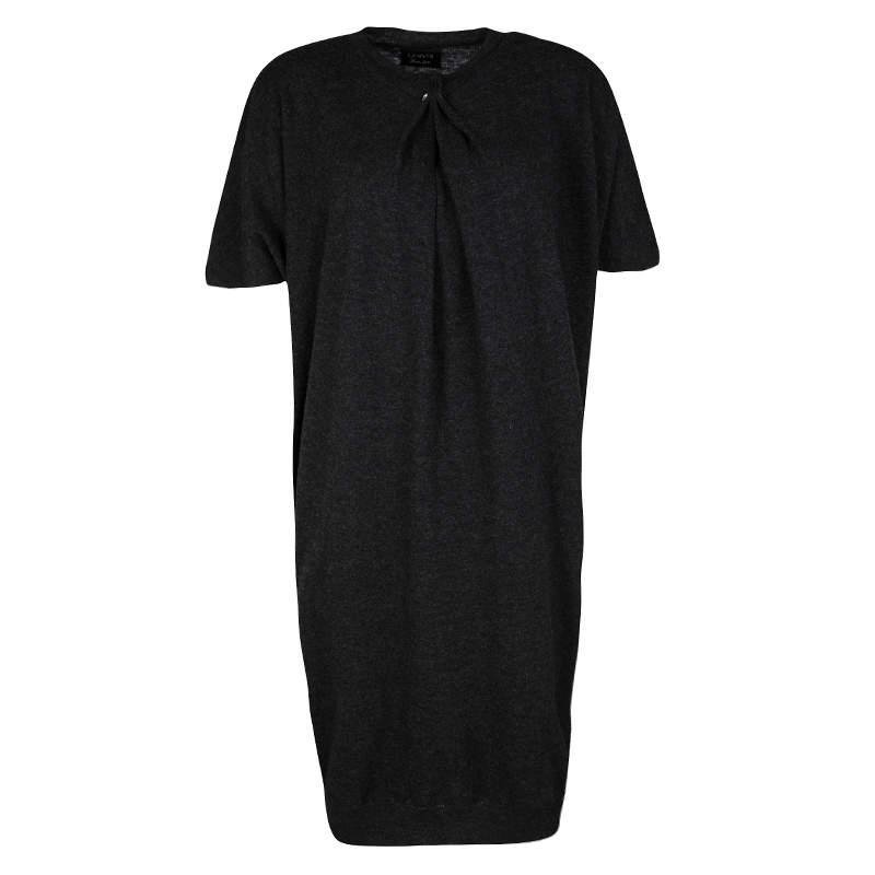 Lanvin Hiver'10 Grey Wool Short Sleeve Draped Dress S
