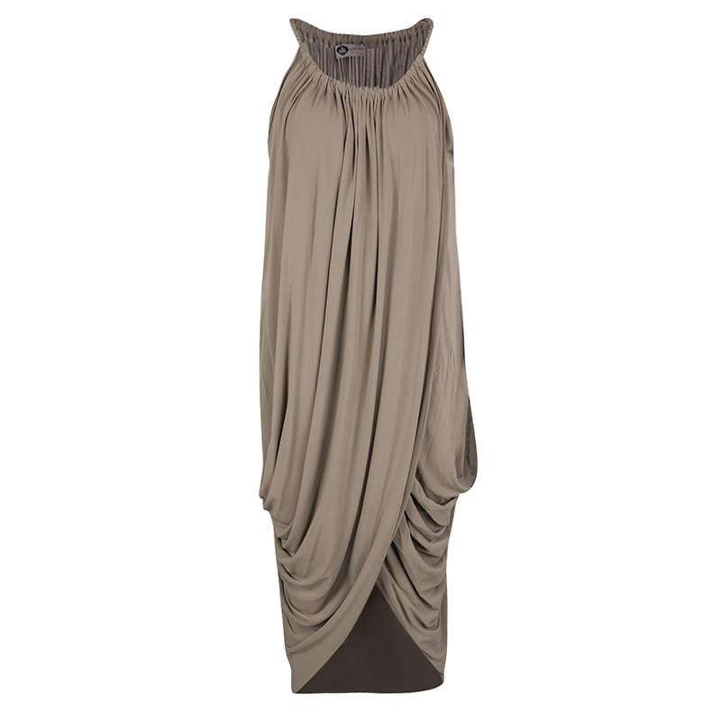 Lanvin Brown Gathered Draped Sleeveless Dress M