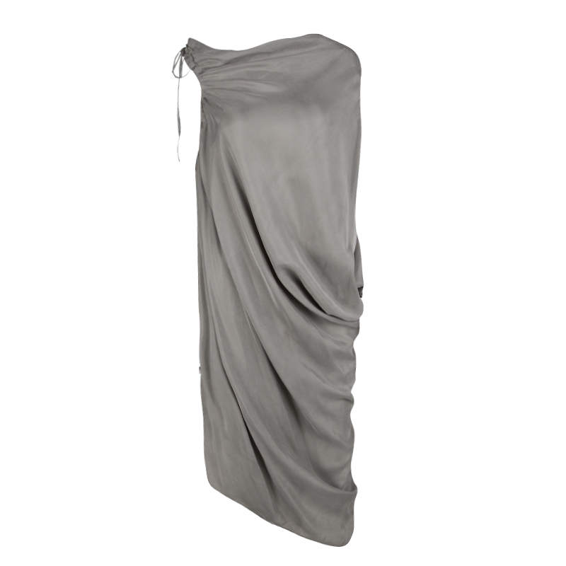 Lanvin Grey Gathered Tie Detail Draped Asymmetric Dress M