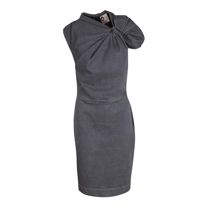 Lanvin X Acne Grey Washed Denim Twist Front Detail Sleeveless Dress M