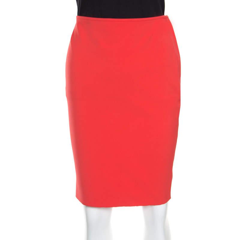 Lanvin Orange Side Zip Detail Fitted Pencil Skirt M