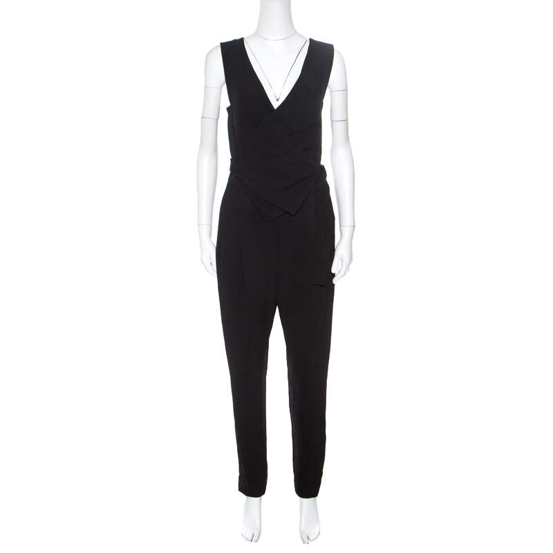 Lanvin Black Crepe Wrap Waistcoat Bodice Detail Tapered Jumpsuit S