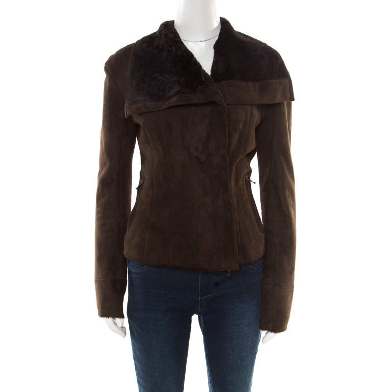 Lanvin Chocolate Brown Lambskin Leather Shearling Lined Biker Jacket M