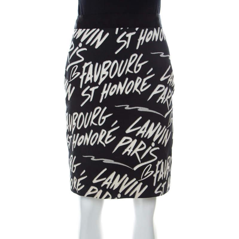Lanvin Black Printed Cotton Stretch Sheath Skirt M