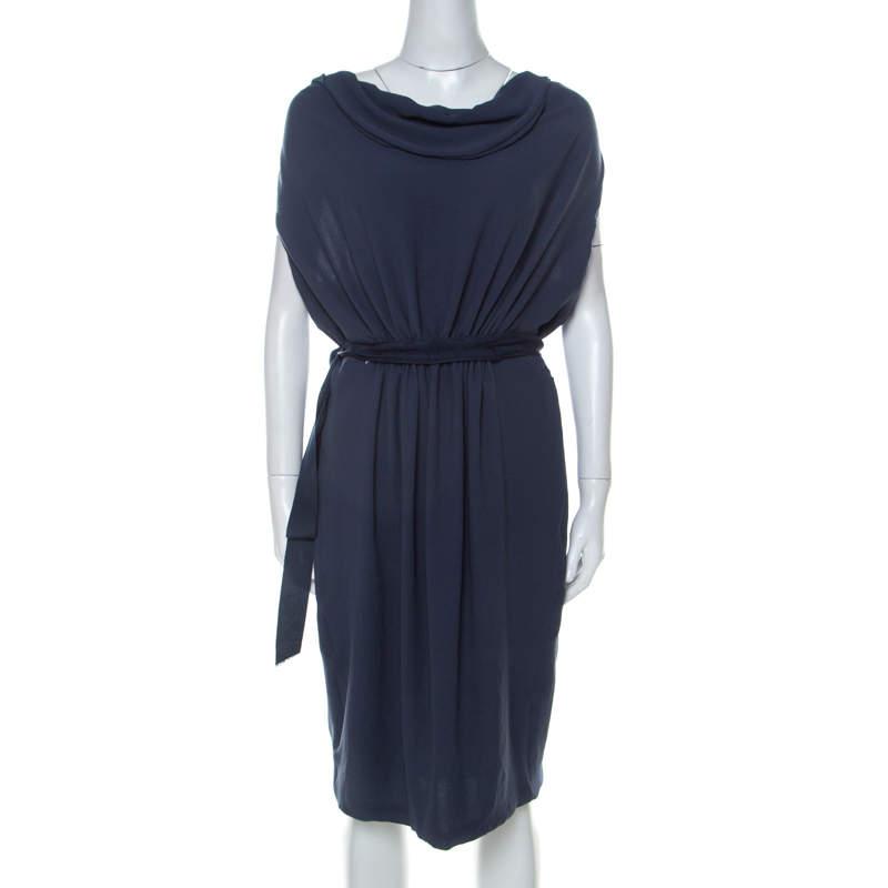 Lanvin Blue-Grey Crepe Gathered Waist Belted Draped Dress M