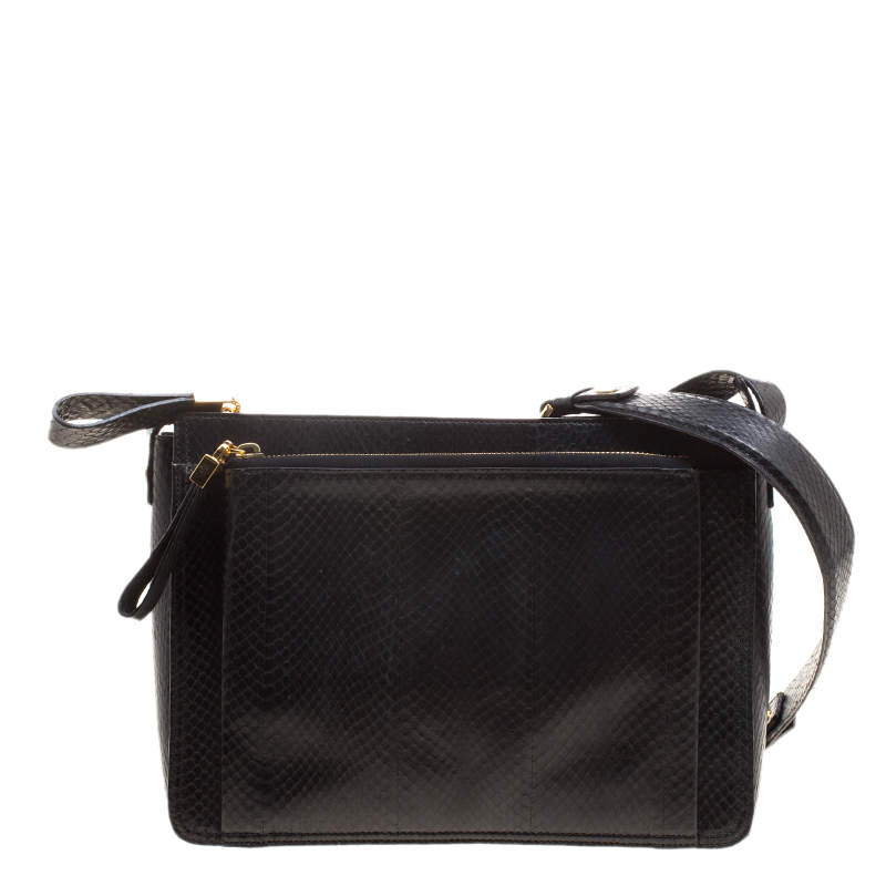 Lanvin Black Python Shoulder Bag