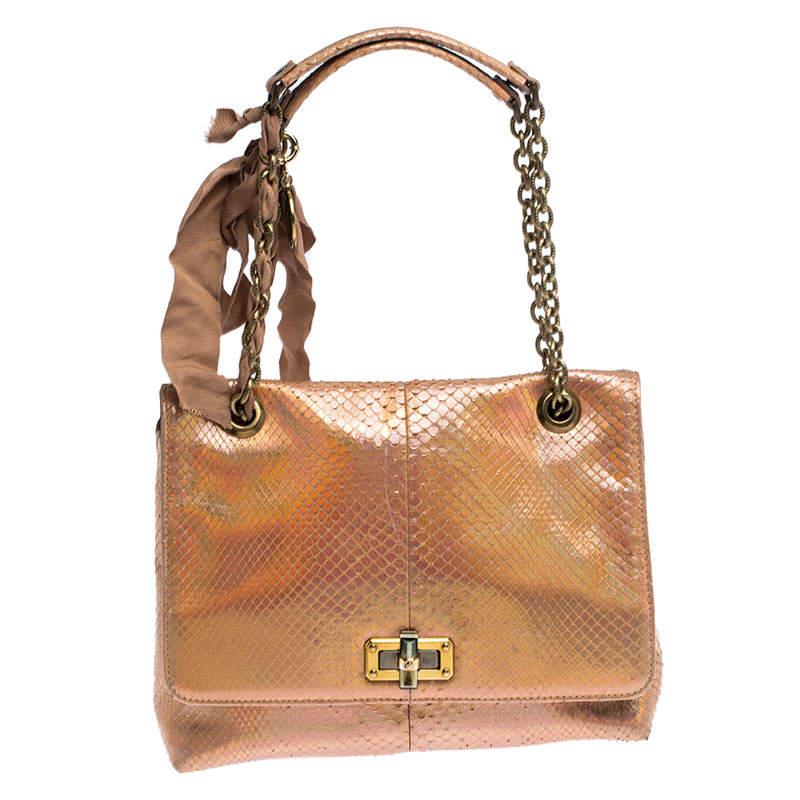 Lanvin Peach Holographic Python Happy Shoulder Bag