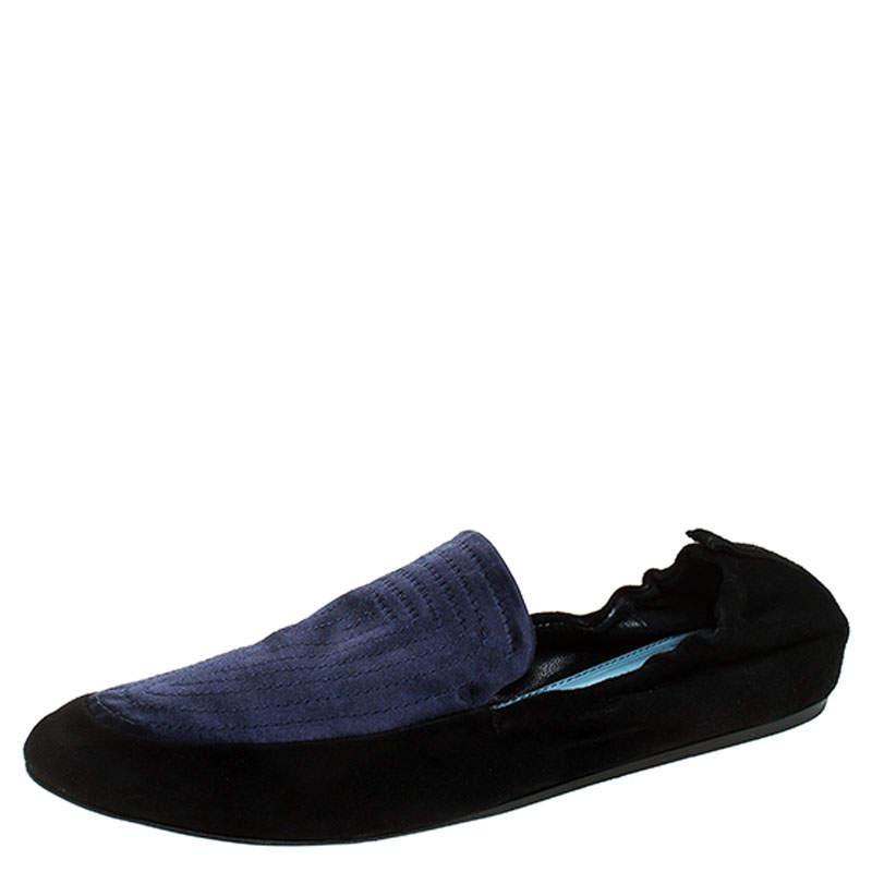 حذاء لوفرز لانفان سكرانش سويدي أسود جلد وساتان أزرق مقاس 40